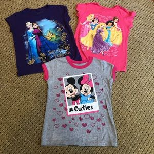 Three Girls Size 7/8 Disney Store T-Shirts